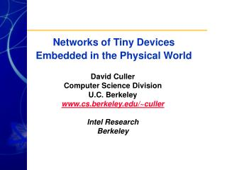 Networks of Tiny Devices  Embedded in the Physical World