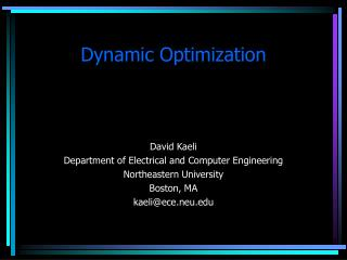 Dynamic Optimization