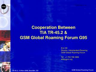Cooperation Between TIA TR-45.2 &  GSM Global Roaming Forum G95