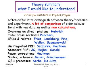Theory  summary: what I would like to understand