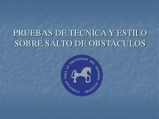 PRUEBAS DE TECNICA Y ESTILO SOBRE SALTO DE OBSTACULOS