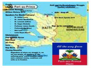 Prayer Libation Welcome Remarks Afrikan History 2010 Speakers For Month February :