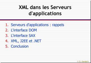 XML dans les Serveurs d'applications