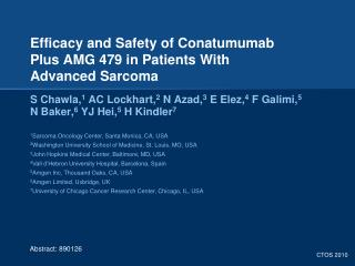 Efficacy and Safety of Conatumumab  Plus AMG 479 in Patients With  Advanced Sarcoma