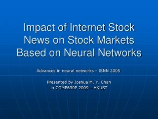 Impact of Internet Stock News on Stock Markets Based on Neural Networks