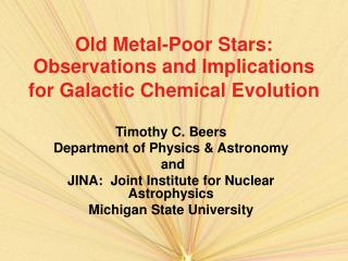 Old Metal-Poor Stars:  Observations and Implications for Galactic Chemical Evolution