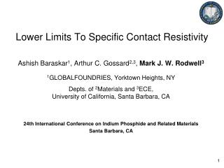 Lower Limits To Specific Contact Resistivity