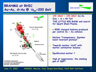 BRAHMS at RHIC Au+Au, d+Au  @  s nn =200 GeV