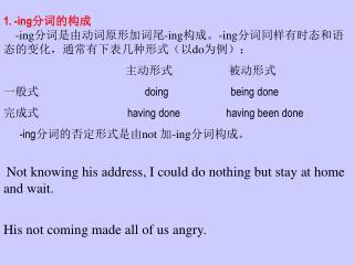 1. -ing 分词的构成 -ing 分词是由动词原形加词尾 -ing 构成。 -ing 分词同样有时态和语态的变化,通常有下表几种形式(以 do 为例):