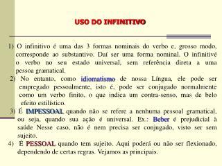 USO DO INFINITIVO