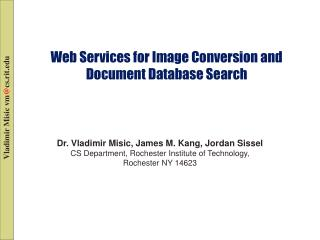 Web Services for Image Conversion and Document Database Search
