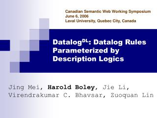 Datalog DL : Datalog Rules Parameterized by Description Logics
