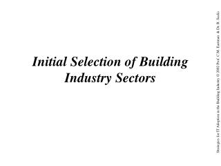 Initial Selection of Building Industry Sectors