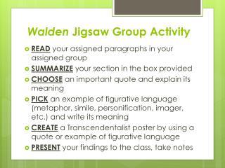 Walden  Jigsaw Group Activity