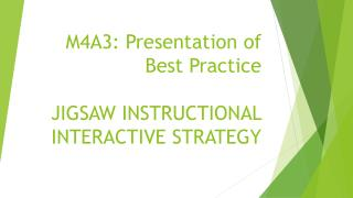 M4A3: Presentation of Best  Practice JIGSAW INSTRUCTIONAL INTERACTIVE STRATEGY