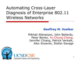 Automating Cross-Layer Diagnosis of Enterprise 802.11 Wireless Networks