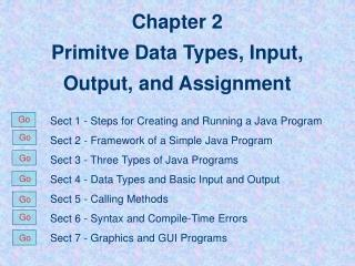 Chapter 2 Primitve Data Types, Input, Output, and Assignment