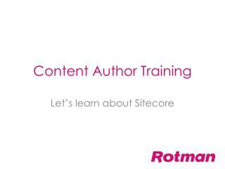 Content Author Training
