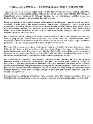 RENCANA PEMBANGUNAN KESEHATAN MENUJU INDONESIA SEHAT 2010
