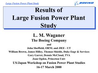 Results of  Large Fusion Power Plant Study