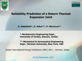 Reliability Prediction of a Return Thermal Expansion Joint