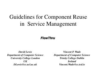Guidelines for Component Reuse in  Service Management