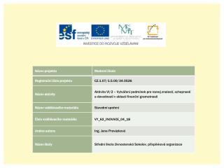 Finanční instituce a jejich produkty  Stavební spoření