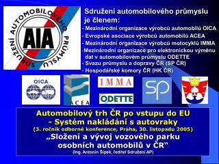 Sdružení automobilového průmyslu je členem: