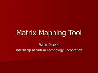 Matrix Mapping Tool