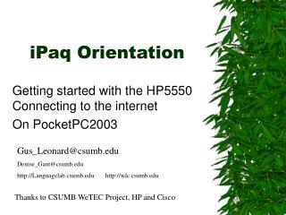 iPaq Orientation