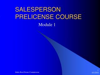 SALESPERSON PRELICENSE COURSE