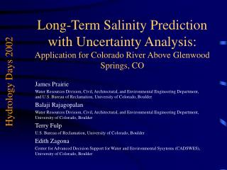 Long-Term Salinity Prediction with Uncertainty Analysis: Application for Colorado River Above Glenwood Springs, CO