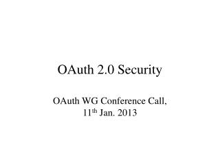 OAuth 2.0 Security