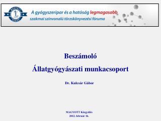 Beszámoló  Állatgyógyászati munkacsoport Dr. Kulcsár Gábor