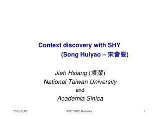 Context discovery with SHY                    (Song Huiyao –  宋會要 )