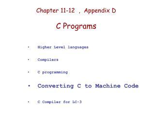 Chapter 11-12  ,  Appendix D  C Programs