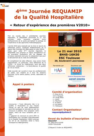 4 ème  Journée REQUAMIP de la Qualité Hospitalière