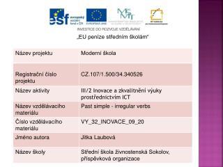 """""""EU peníze středním školám"""""""