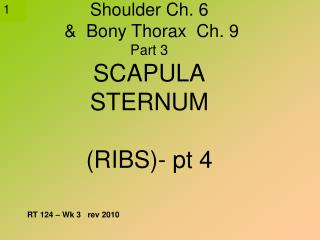 Shoulder Ch. 6    Bony Thorax  Ch. 9 Part 3 SCAPULA STERNUM  RIBS- pt 4