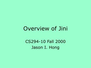 Overview of Jini