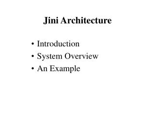 Jini Architecture