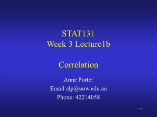 STAT131 Week 3 Lecture1b Correlation