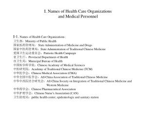 I. Names of Health Care Organizations  and Medical Personnel