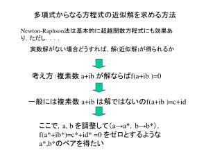 多項式からなる方程式の近似解を求める方法