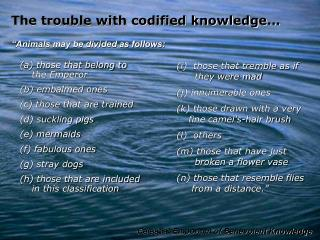 The trouble with codified knowledge...