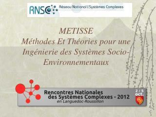 METISSE Méthodes Et Théories pour une Ingénierie des Systèmes Socio-Environnementaux