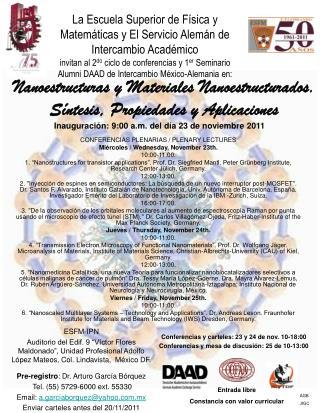 CONFERENCIAS PLENARIAS / PLENARY LECTURES Miércoles / Wednesday, November 23th. 10:00-11:00.