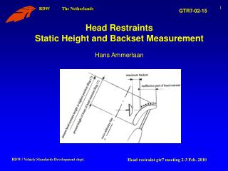Head Restraints Static Height and Backset Measurement Hans Ammerlaan