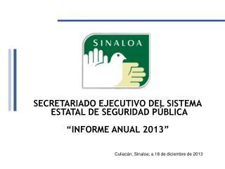 """SECRETARIADO EJECUTIVO DEL SISTEMA  ESTATAL DE SEGURIDAD PÚBLICA   """"INFORME ANUAL 2013"""""""