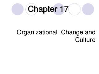 O rganizational  Change  and Culture